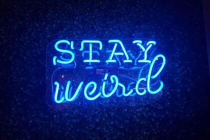 blue neon text on a black background reads Stay Weird