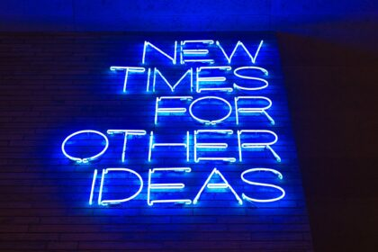 """Blue text in neon on a brick wall reads """"New times for other ideas."""" The photo is shot from below."""